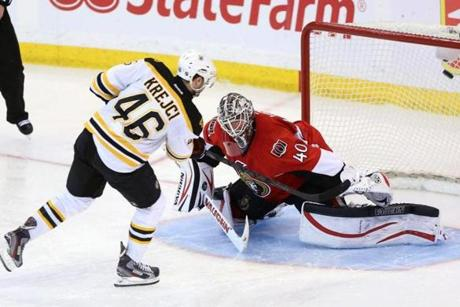 Krejci scored his game-winner in a more conventional method.